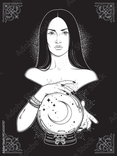 Poster Halloween Beautiful brunette witch with magic crystal ball with crescent moon in her hands line art and dot work. Boho chic tattoo, poster, tapestry or altar veil print design vector illustration.