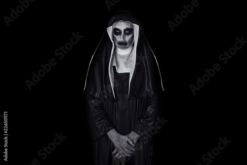 portrait of a frightening evil nun Canvas Print