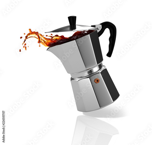 Cafe Italian coffee maker with a coffee splash. 3D Illustration.
