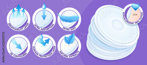 Photo Hypoallergenic layered disposable breast pads while offering excellent breathability, protection and comfort
