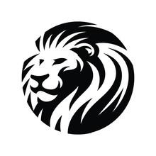 Lion Head Circle Icon Illustration