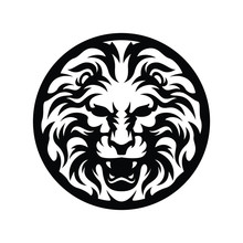 Medal Lion In Silhouette Symbol