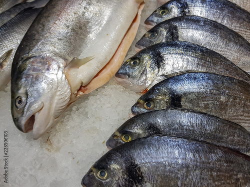 Foto op Aluminium Vis A lot of fresh raw fish on store shelve with ice