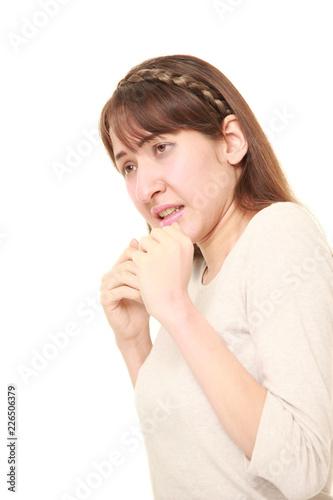 Fotografie, Obraz  恐怖におののく白人の女性
