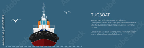 Front View of the Vessel Tugboat and Text, Push Boat Banner, Tow Boat for to Tow Wallpaper Mural