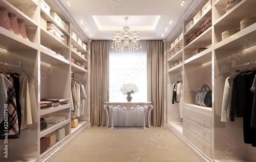 Fotografía  Beige luxury dressing room with crystal chandelier