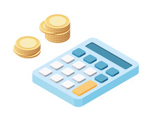 Calculator With Coins In Isometric. Vector Illustration.