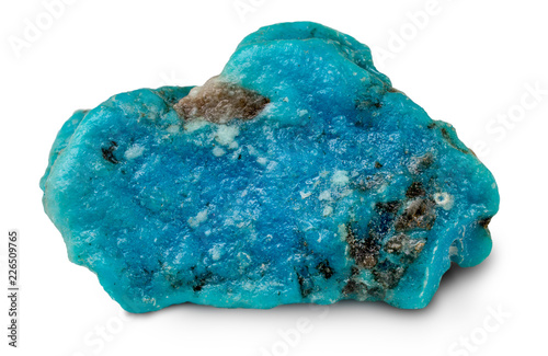 Rough turquoise stone isolated on white background - 226509765