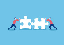 Two Flat Style People Connecting Puzzle Elements. Business, Teamwork And Partnership Concept. Vector Illustration