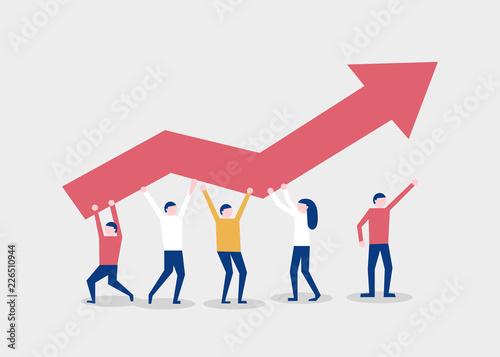 Fotografía Little people raise a red chart arrow
