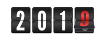 Flip Countdown Timer With Changing Numbers Of Year. Happy New Year. Countdown Timer. Mechanical Scoreboard Of Counter Of Elapsed Time. Vector Template For Holidays Party