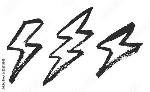 Obraz na plátně Lightning bolts brush painted vector illustrations isolated on white