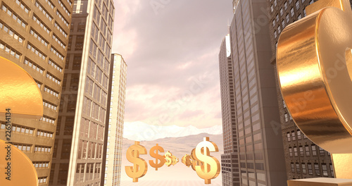 Fotografie, Obraz  US Dollar Sign In The City - Business Related Aerial 3D City Flight To Sky