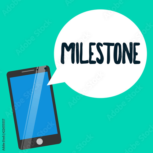 Fotografering  Word writing text Milestone