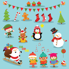 Illustration Of Cute Christmas Elements