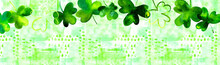 A Banner With Hand Drawn Watercolor Shamrocks, Irish Clovers, On A Green Background With Copy Space