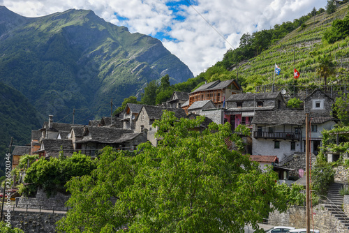 Foto op Canvas Guilin The village of Vogorno on Verzasca valley in Switzerland