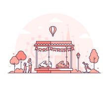 Carousel - Thin Line Design Style Vector Illustration