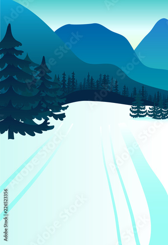 Fotobehang Lichtblauw mountains. Vector background with polygonal landscape illustration. flat design. vector illustration