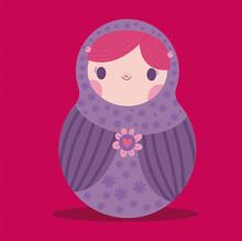 Matrioshka Muñeca Morada Lila Tierna Bebé Infantil Ilustración Flores Rosadas