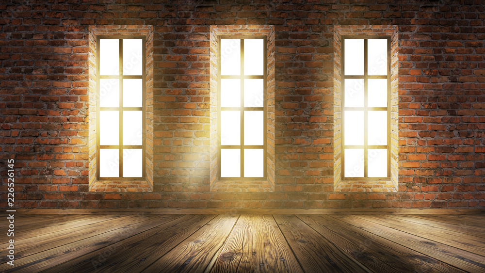 Fototapeta A brick wall in an empty room, large wooden windows, a magical light and the rays of the sun.