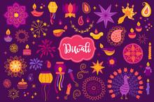 Diwali Set With Mandala, Diya, Lantern, Garland, Stars, Paisley, Candles