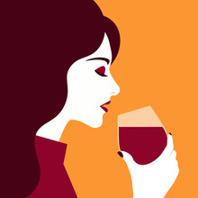 Woman Drinks Wine From A Glass...