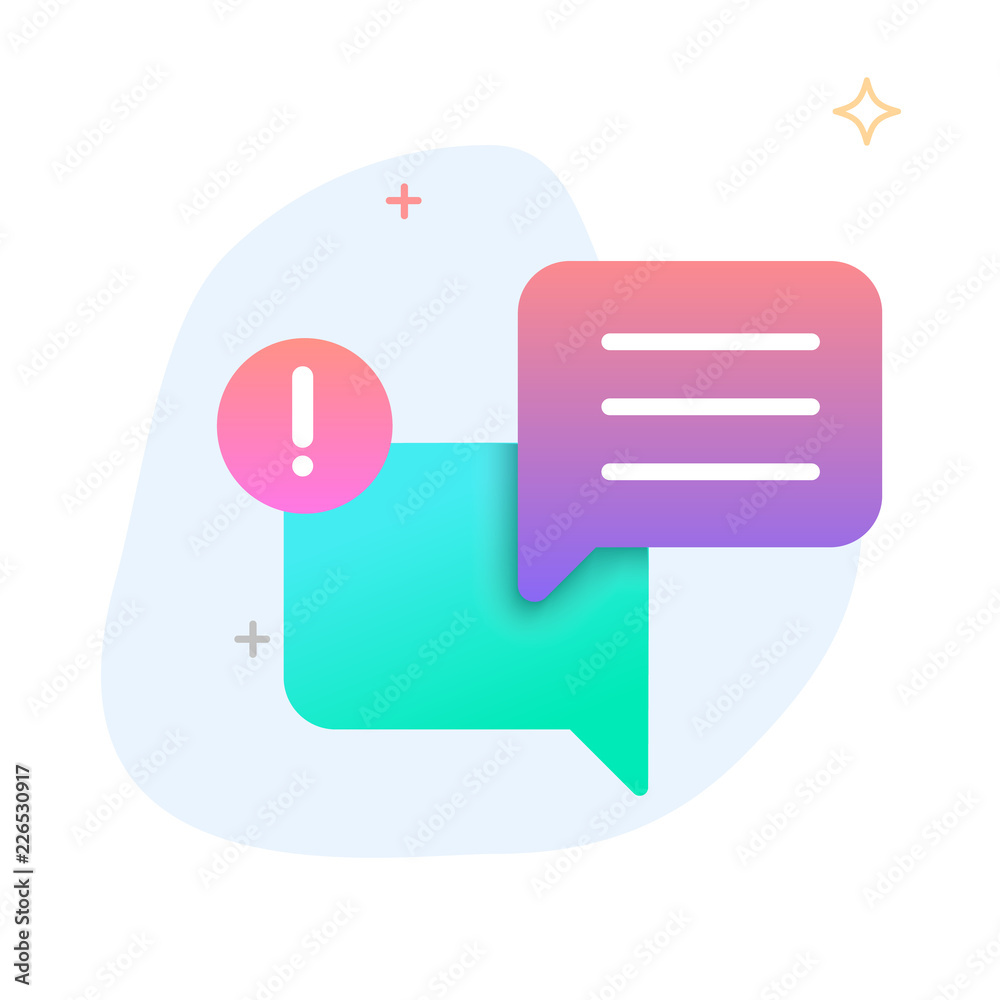 Fototapeta New Message, Dialog, Chat Speech Bubble Notification flat gradient icon vector