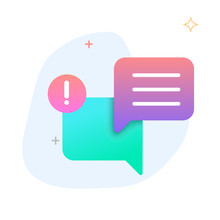 New Message, Dialog, Chat Speech Bubble Notification Flat Gradient Icon Vector
