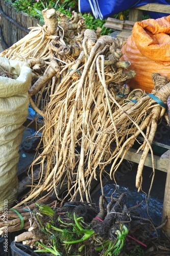 Photo  Exotic medicinal roots for sale at a market in rural Vietnam