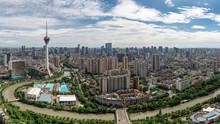 Aerial View Of Chengdu Urban Skyline.The TV Tower Is The Landmark Of Chengdu City,Sichuan Province,China.