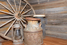Old Wagon Wheel, Milk Cans An...