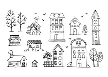 Vector Set Of Hand Draw House,...