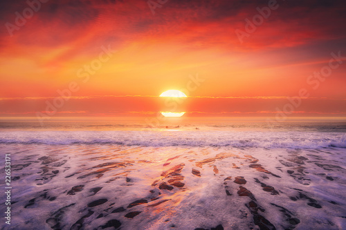 Poster Koraal beautiful seascape in beach at sunset