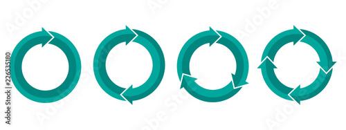 Photo Set of circular arrows. Vector illustration.
