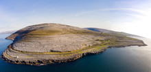 Aerial Birds Eye View Of The Burren National Park. Scenic Tourism Landscape For Unesco World Heritage Site And Global Geopark Geotourism Along The Wild Atlantic Way.