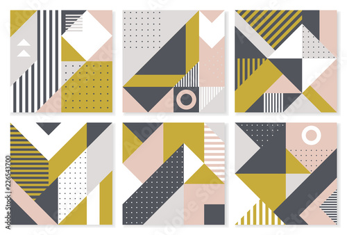 Foto  Set of 6 backgrounds with trendy geometric design