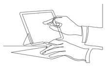 Continuous Line Drawing Of Hands Writing Pointing At Tablet Screen