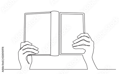 continuous line drawing of hands holding open book - Buy