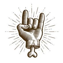 Zombie. Cool Symbol, Hand Gesture. Sketch Vintage Vector Illustration