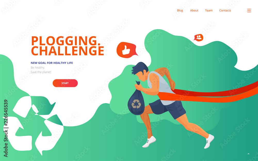 Fototapeta Plogging landing concept vector illustration with a runner, trash or litter bag and a waste recycle icon. Cleaning garbage marathon or plogging eco challenge presentation, web page or banner template.