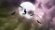 Halloween Moon, Bats  And Witch