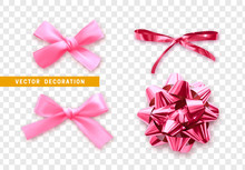 Bows Color Pink Realistic Design. Isolated Gift Bows With Ribbons With Shadow.