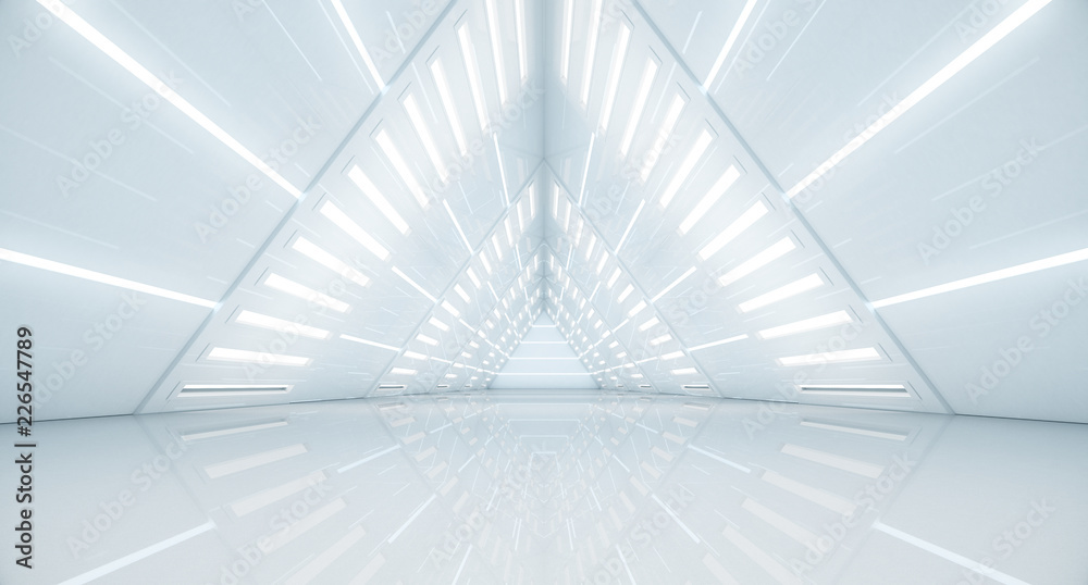Fototapety, obrazy: Abstract Triangle Spaceship corridor. Futuristic tunnel with light. Future interior background, business, sci-fi science concept. 3d rendering