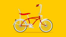 Red Low Rider Bike In Yellow Background Flat Style Illustration