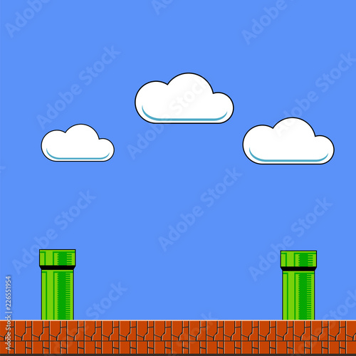 Photo  Old Game Background. Classic Arcade Design with Pipe and Brick