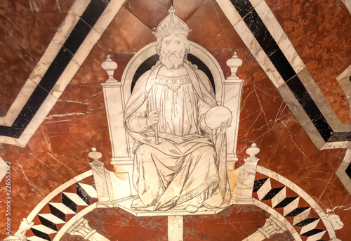 Poster Artistiek mon. King of Roman Empire on marble mosaic floor of 14th century Duomo di Siena. Artwork inside italian cathedral, UNESCO World Heritage Site