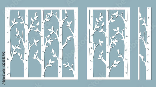 Birch Grove Background Vector Birch Or Aspen Trees With Leaves
