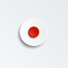 Red Record Button For Music Player Isolated On White Background. Cut Paper