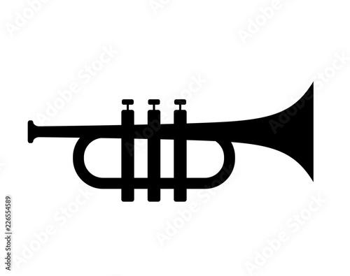 Slika na platnu Trumpet silhouette vector icon
